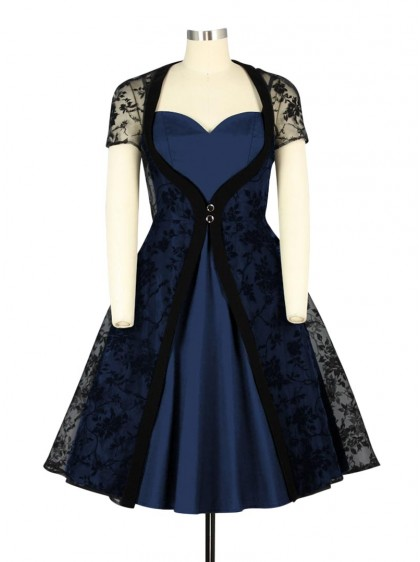 "Robe Rockabilly Retro Gothique Chicstar ""Lena Blue"" - rockangehell.com"