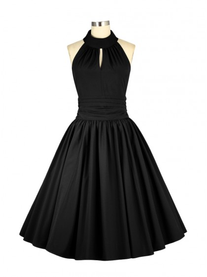"Robe Soirée Pin-Up Années 50 Rockabilly Chicstar ""Marilyn Black"" - rockangehell.com"