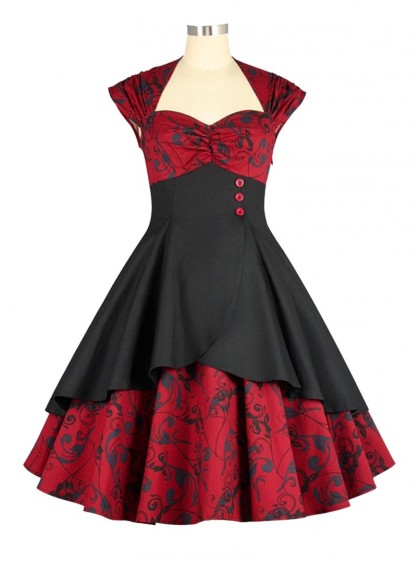 "Robe Pin-Up Rockabilly Retro Chicstar ""Eva Red Brocart"" - rockangehell.com"