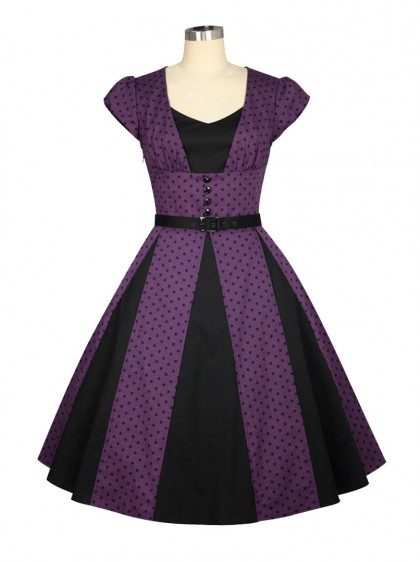 "Robe Années 50 Pin-Up Rockabilly Chicstar ""Marcia Purple"" - rockangehell.com"