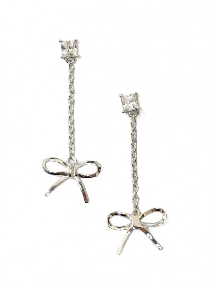 "Boucles d'oreille Rockabilly Pin-Up Années 50 Collectif ""Silver Bow"" - rockangehell.com"
