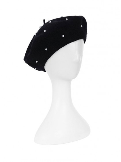 "Béret Noir Rockabilly Pin-Up Années 50 Collectif ""Claudette Black"" - rockangehell.com"