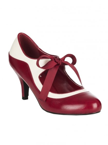 "Chaussures Escarpins Retro Rockabilly Pin-Up Lulu Hun ""Jeanie Red Burgundy"" - rockangehell.com"