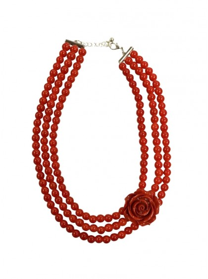 "Collier Perles Vintage Rockabilly Retro Collectif ""Pearl Roses Red"" - rockangehell.com"