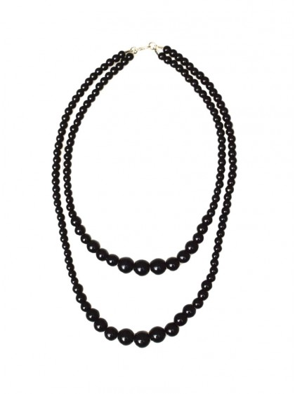 "Collier Perles Vintage Rockabilly Retro Collectif ""Double Pearl Black"" - rockangehell.com"