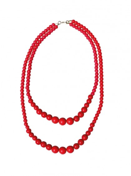 "Collier Perles Rockabilly Retro Années 50 Collectif ""Double Pearl Red"" - rockangehell.com"