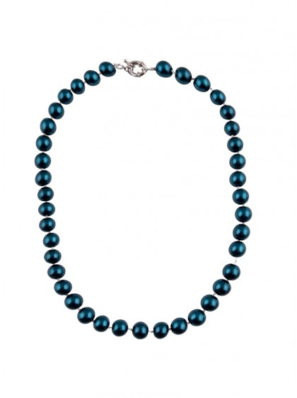 "Collier Perles Rockabilly Pin-Up Années 50 Collectif ""Blue Pearls"" - rockangehell.com"