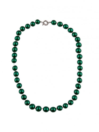 "Collier Perles Années 50 Rockabilly Retro Pin-Up Collectif ""Green Pearls"" - rockangehell.com"