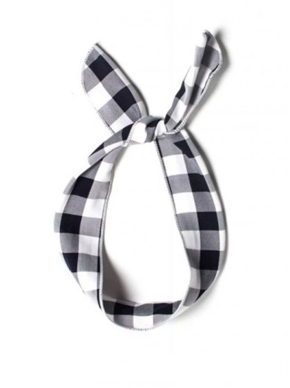 "Foulard Cheveux Vintage Rockabilly Retro Collectif ""Vichy Black White""  - rockangehell.com"