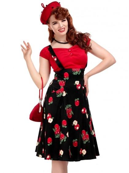 "Jupe Swing Retro Rockabilly Pin-Up Années 50 Collectif ""Alexa Apple"" - rockangehell.com"