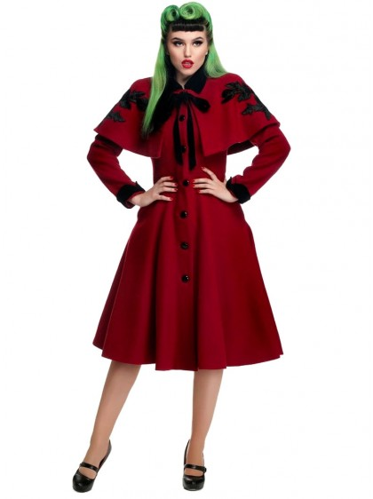 "Manteau + Cape Pin-Up Rockabilly Vintage Collectif ""Claudia Roses"" - rockangehell.com"