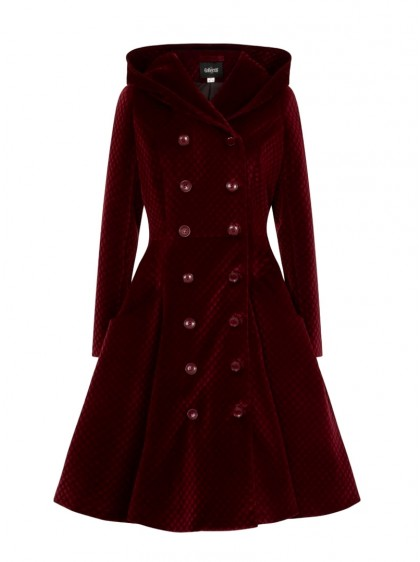"Manteau Rockabilly Pin-Up Vintage Retro Collectif ""Heather Wine"" - rockangehell.com"