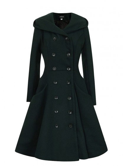 "Manteau Vintage Rockabilly Pin-Up Retro Collectif ""Heather Dark Green"" - rockangehell.com"