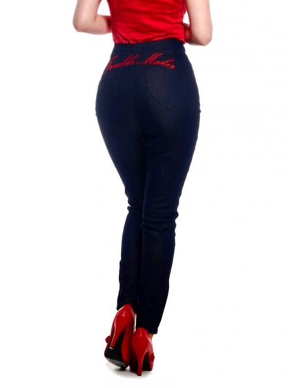 "Pantalon Jeans Années 50 Retro Pin-Up Rockabilly Collectif ""Tara Trouble Maker"" - rockangehell.com"