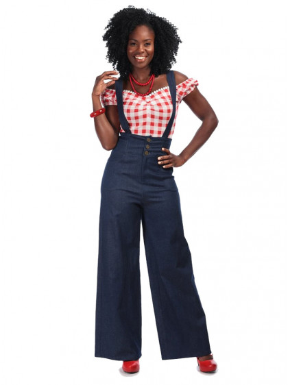 "Pantalon Jean Retro Rockabilly Vintage Collectif ""Freya"" - rockangehell.com"