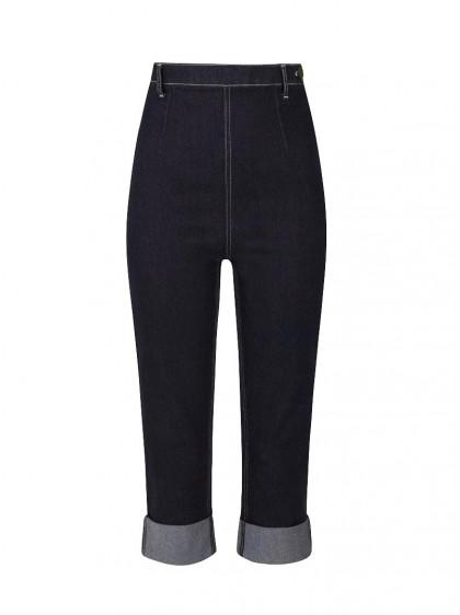 "Pantacourt Jeans Années 50 Retro Pin-Up Rockabilly Collectif ""Bambi"" - rockangehell.com"