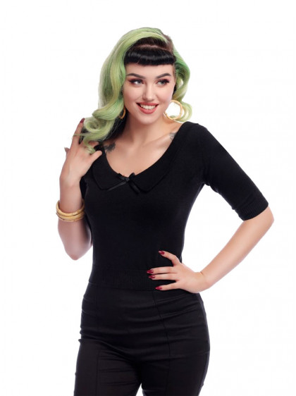 "Pull Vintage Pin-Up Rockabilly Collectif ""Babette Black"" - rockangehell.com"