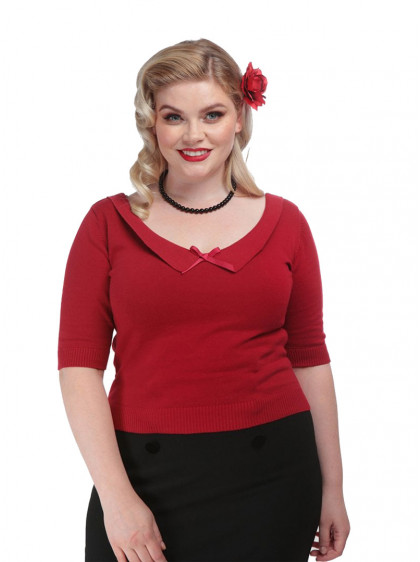 """Pull Rockabilly Vintage Pin-Up Collectif """"Babette Red"""" - rockangehell.com"""