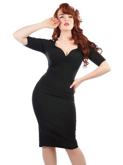 "Robe Crayon Pin-Up Rockabilly Vintage Collectif ""Black Trixie"" - rockangehell.com"