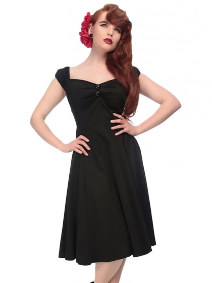 "Robe Pin-Up Rockabilly Années 50 Collectif ""Dolores Doll Black"" - rockangehell.com"