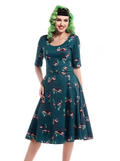 "Robe Pin-Up Retro Rockabilly Collectif ""June Flamingo""- rockangehell.com"