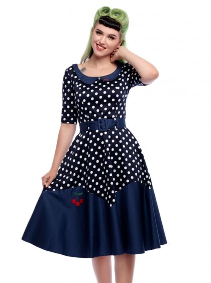 "Robe Années 50 Rockabilly Pin-Up Collectif ""Cherry Doll Blue""- rockangehell.com"