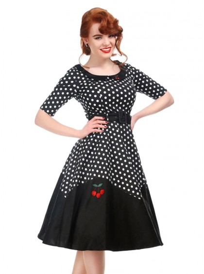 "Robe Rockabilly Années 50 Pin-Up Collectif ""Cherry Doll Black""- rockangehell.com"