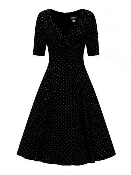 """Robe Soirée Retro Vintage Années 50 Rockabilly Collectif """"Trixie Velvet Sparkle Gold Dots"""" - rockangehell.com"""