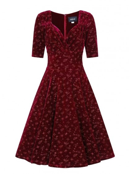 "Robe Soirée Rockabilly Pin-Up Retro Collectif ""Red Trixie Velvet Sparkle"" - rockangehell.com"