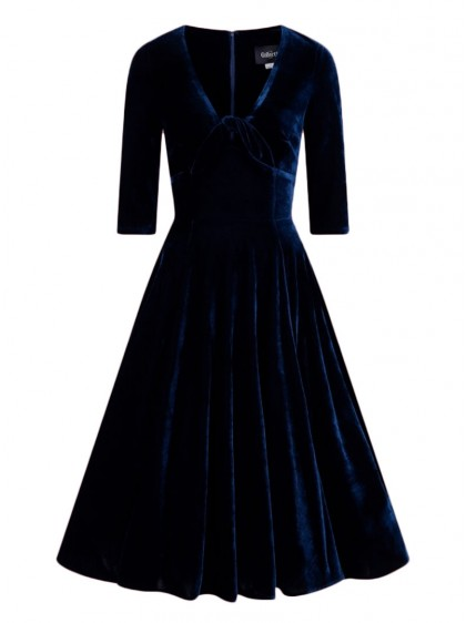 "Robe Soirée Vintage Rockabilly Pin-Up Collectif ""Moira Blue"" - rockangehell.com"