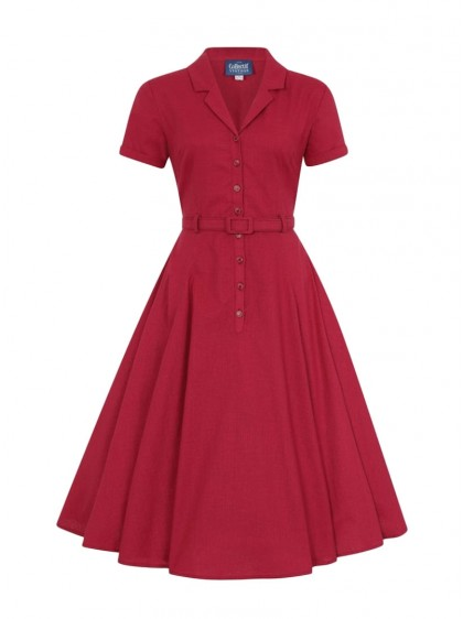 "Robe Rouge Retro Rockabilly Années 50 Vintage Collectif ""Caterina Red"" - rockangehell.com"