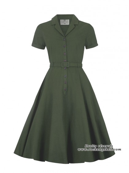 "Robe Vert Olive Rockabilly Retro Vintage Collectif ""Caterina Green"" - rockangehell.com"