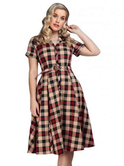 "Robe Retro Vintage Rockabilly Collectif ""Caterina Mckenzie Check"" - rockangehell.com"