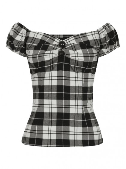 "Tee-shirt Pin-Up Rockabilly Vintage Collectif ""Dolores Monochrome Check"" - rockangehell.com"