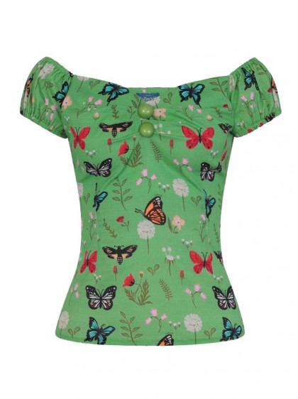 "Tee-shirt Vintage Pin-Up Rockabilly Collectif ""Dolores Butterfly"" - rockangehell.com"