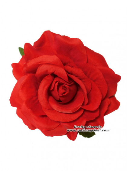 "Barrette Cheveux Broche Mariage Rockabilly Retro Pin-Up ""Red Rose"" - rockangehell.com"