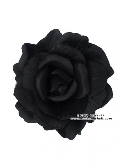 "Barrette Cheveux Broche Mariage Rockabilly Gothique ""Black Rose"" - rockangehell.com"