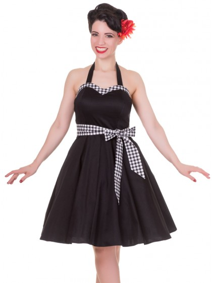 "Robe mi-longue Pin-Up Rockabilly Vintage Dolly And Dotty ""Anita Black Vichy"" - rockangehell.com"
