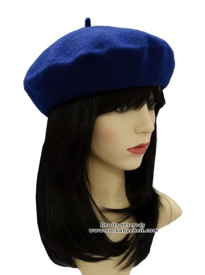 "Béret Bonnet Bleu Pin-Up Vintage Retro ""Royal Blue"" - rockangehell.com"