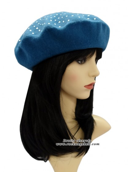 "Béret Bonnet Bleu Pin-Up Retro Rockabilly ""Classic Studs Blue"" - rockangehell.com"