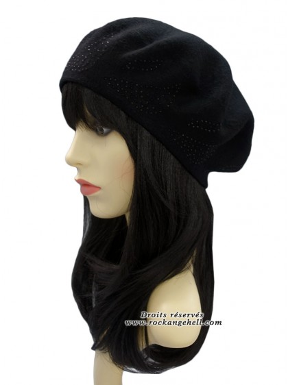 "Béret Bonnet Noir Pin-Up Vintage Rockabilly ""Diamond Black"" - rockangehell.com"
