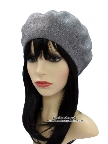 "Béret Bonnet Gris Retro Pin-Up Rockabilly ""Diamond Grey"" - rockangehell.com"