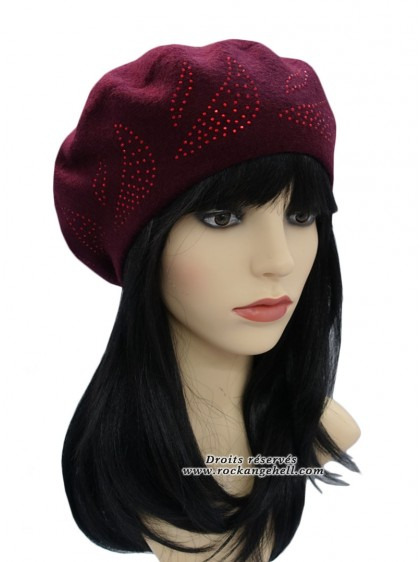 "Béret Bonnet Rouge Bordeaux Retro Vintage Rockabilly ""Diamond Burgundy"" - rockangehell.com"