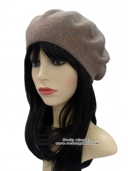 "Béret Bonnet Beige Pin-Up Vintage Rockabilly ""Diamond Beige"" - rockangehell.com"
