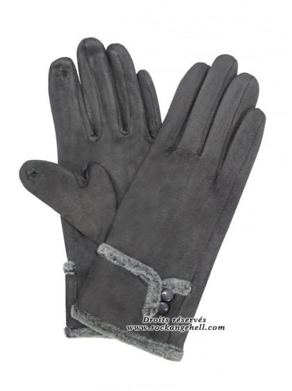 "Gants Gris Retro Vintage Pin-Up ""Suede Grey"" -  rockangehell.com"