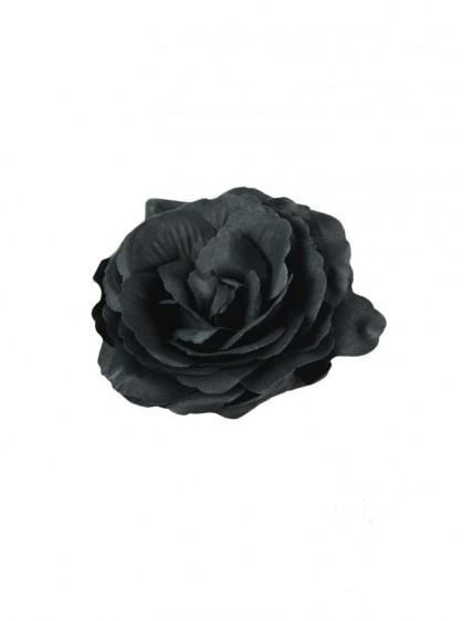 "Barrette Rockabilly Gothique Poizen Industries (Evil Clothing) ""Black Flower"" - rockangehell.com"