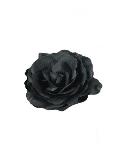 "Barrette Rockabilly Gothique Poizen Industries (Evil Clothing) ""Black Flower"" - rockangehell.com"
