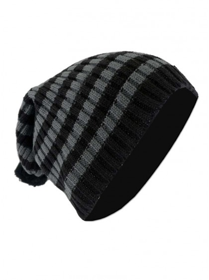 "Bonnet Punk Rock noir/grisVixxsin (Evil Clothing) ""Grey Stripes"""