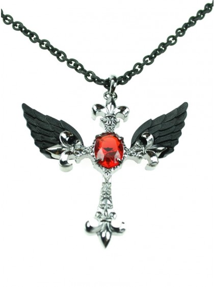 "Collier Gothique Poizen Industries (Evil Clothing) ""Cross Feather"""