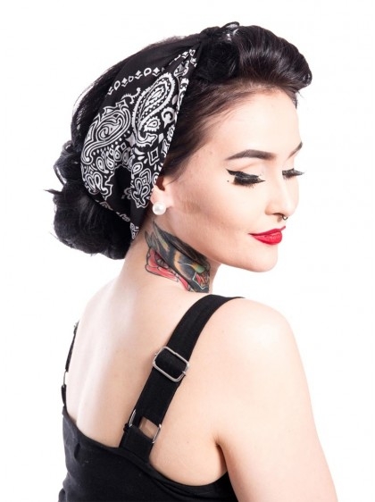 "Bandana Foulard Retro Rockabilly Pin-Up Rockabella (by Evil Clothing) ""Band One Black"" - rockangehell.com"